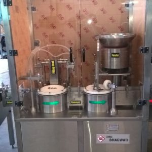 Two Head Liquid Vial Filling with Rubber Stoppering Machine Model SBLFRS-60