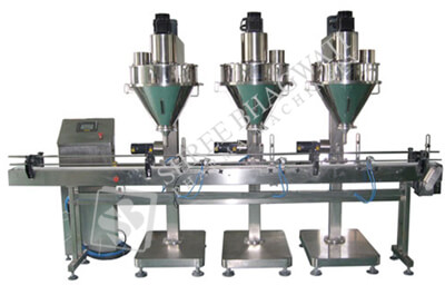 Three Head Auger Type Powder Filling Machine