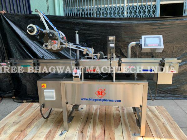carton labeling machine, Box top labeling machine